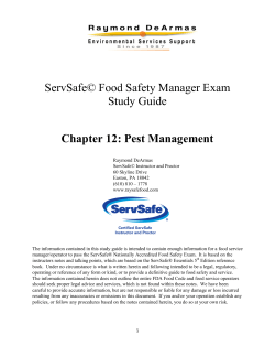 ServSafe© Food Safety Manager Exam Study Guide Chapter 12