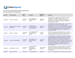 Crime List for Delaware Police Department from 02/24/2014 to 03/02