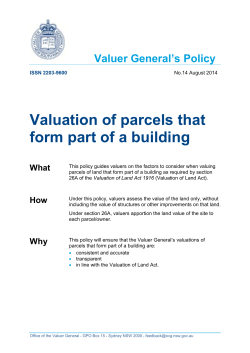 Valuation of parcels that form part of a building policy