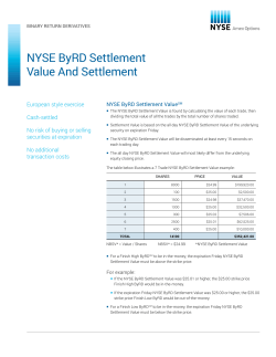 NYSE ByRD Settlement Value And Settlement