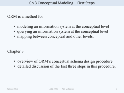 Ch 3 Conceptual Modeling – First Steps ORM is a method for