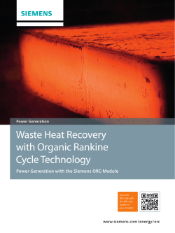 Waste Heat Recovery with Organic Rankine Cycle