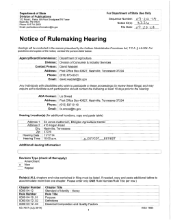 Notice of Rulemaking Hearing