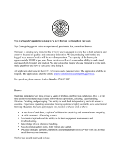 Nya Carnegiebryggeriet is looking for a new Brewer to strengthen