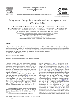Magnetic exchange in a low-dimensional complex