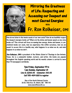 Fr. Ron Rolheiser, OMI - Star of the North Retreat Centre