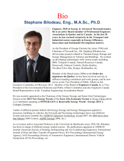 Stephane Bilodeau, Eng., MASc., Ph.D.