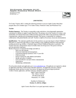 JOB POSTING Tri-County Virginia, OIC is seeking the following