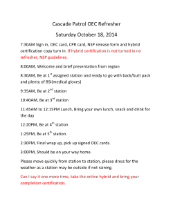 Cascade Patrol OEC Refresher Saturday October 18, 2014