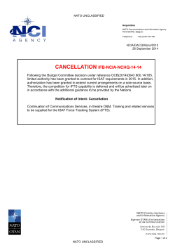 CANCELLATION IFB-NCIA-NCHQ-14-14 - NCI Agency