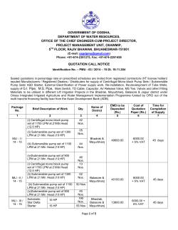Quotation call notice - Deptt. of Water Resources, Odisha
