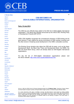 CEB becomes an ODA-eligible international organisation