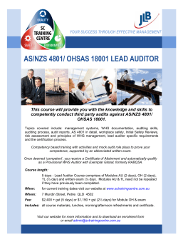 AS/NZS 4801/ OHSAS 18001 LEAD AUDITOR