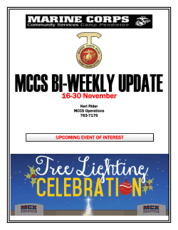 16-30 November - MCCS Camp Pendleton