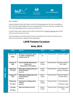 LSCB TRAINING CALENDAR APRIL 2014 A P R IL 201 4