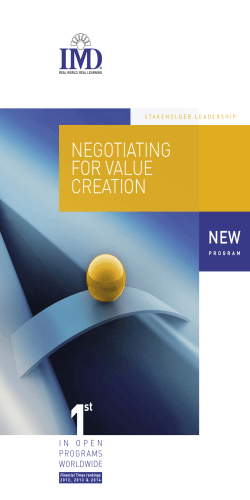 NEGOTIATING FOR VALUE CREATION
