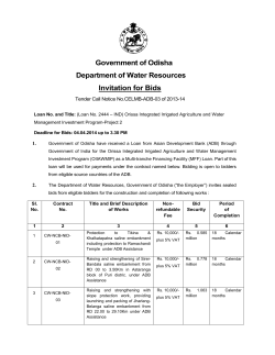 Government of Odisha Department of Water Resources