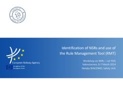 Identification of NSRs and use of the Rule - ERA