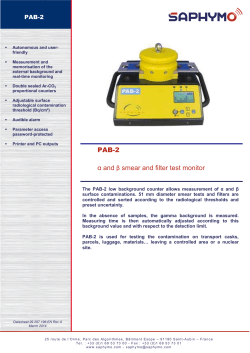 Datasheet PAB-2 Contamination smear test monitor