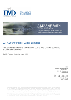 A leap of faith with Alibaba - Prof. Winter NIE - June 2014