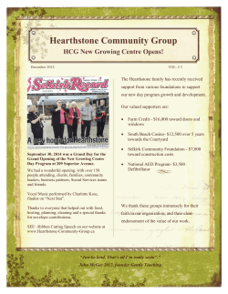 December 2014 News Letter - Hearthstone Community Group