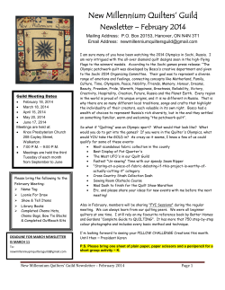 February 2014 Newsletter 3 - New Millennium Quilters Guild