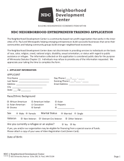 NDC NEIGHBORHOOD ENTREPRENEUR TRAINING APPLICATION