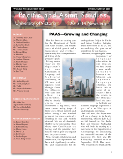 PAAS 2013-14 Newsletter - University of Victoria