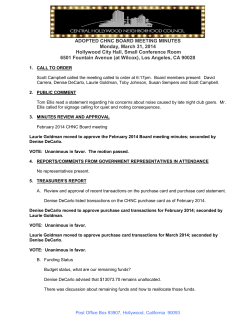 ADOPTED CHNC BOARD MEETING MINUTES Monday, March 31