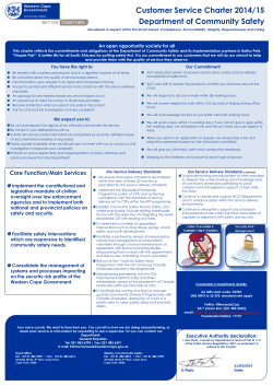 Department of Community Safety Customer Service Charter 2014/15