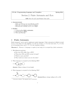 Section 2: Finite Automata and JLex