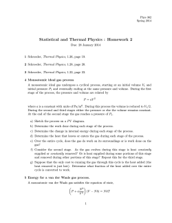 Statistical and Thermal Physics : Homework 2
