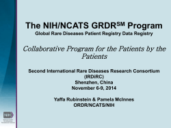 The NIH/NCATS GRDR Program