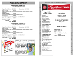 2014-August 17-bulletin - The Salvation Army Kingston Citadel