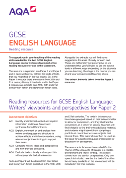GCSE English Language Sample reading resource Paper 2