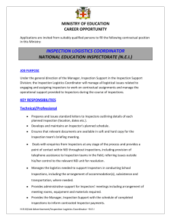 inspection logistics coordinator national education inspectorate (nei)