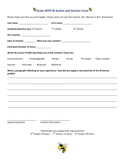 Greer MYP IB Action and Service Form