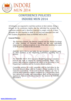 CONFERENCE POLICIES INDORE MUN 2014
