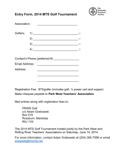 Entry Form, 2014 MTS Golf Tournament