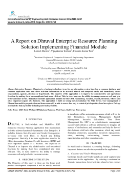 A Report on Dhruval Enterprise Resource Planning Solution
