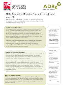 ADRg Accredited Mediator Course to complement your LPC