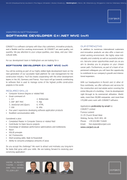 SOFTWARE DEVELOPER C#/.NET MVC (m/f)