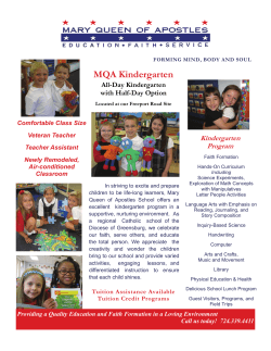 MQA Kindergarten Flyer - Mary Queen of Apostles School