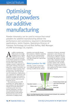 Optimising metal powders for additive manufacturing