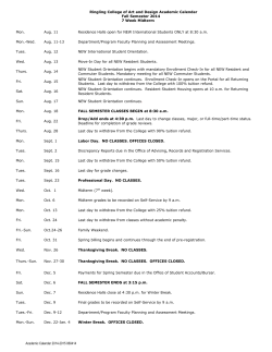 Academic Calendar - Ringling College of Art and Design