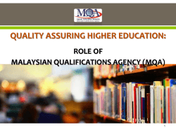 Presentation by Malaysian Qualifications Agency (MQA)
