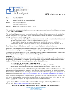 BULLETIN: IRS Mileage Rate Effective January 1, 2015
