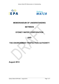 (MoU) between Sydney Water Corporation and the NSW
