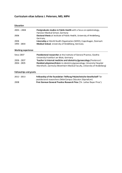 Curriculum vitae Juliana J. Petersen, MD, MPH