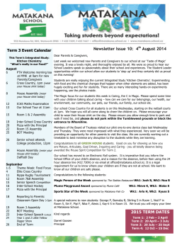 Matakana School Newsletter 04th August 2014